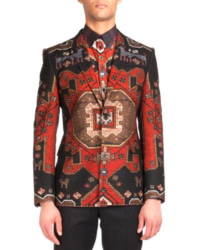 Persian-Print Two-Button Blazer, Red