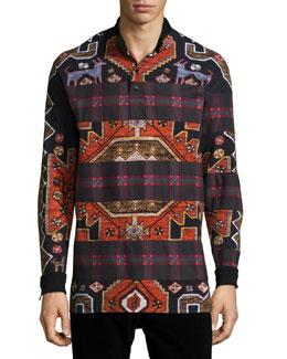 Persian-Check Print Long-Sleeve Polo Shirt, Red