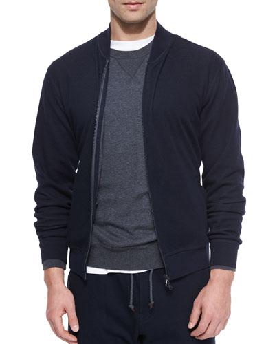 Knit Bomber Sweater Jacket, Navy
