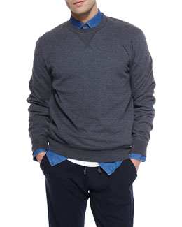 Crewneck Knit Sweater, Gray