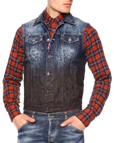 Distressed Mud Denim Vest, Indigo