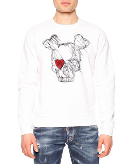 Long-Sleeve Skull w/Red Eye Sweatshirt, White