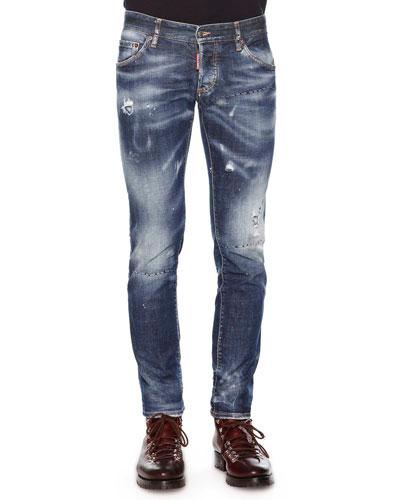 Paint-Splatter Distressed Denim Jeans, Indigo