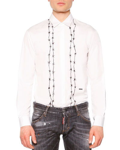 Barbed-Wire Print Long-Sleeve Shirt, White