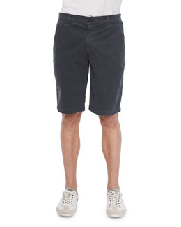Griffin Flat-Front Shorts, Dark Gray