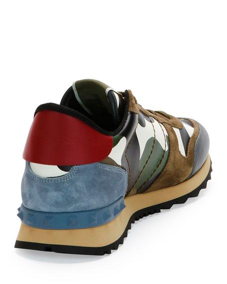 Rockrunner Camo-Print Sneaker, Black/Red