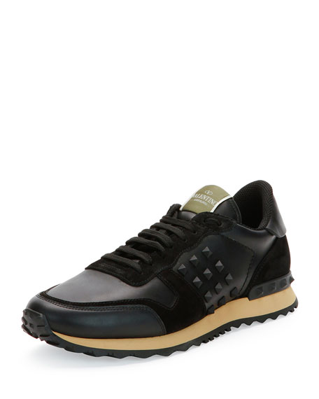 Rockrunner Leather and Suede Sneaker, Black