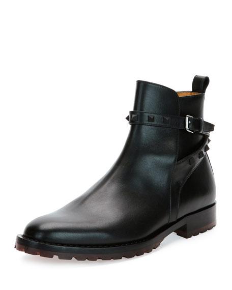 Rockstud Leather Chelsea Boot, Black