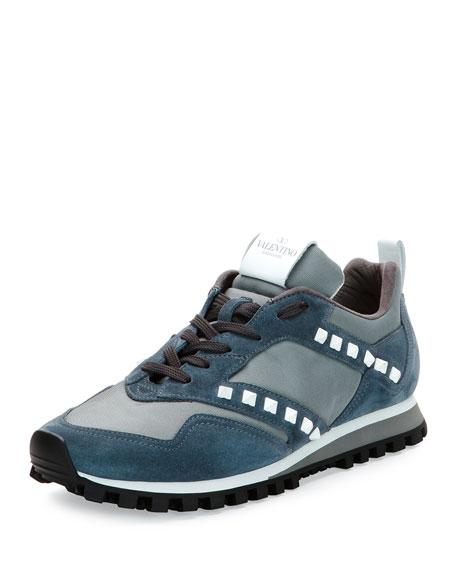 Rockstud Leather & Mesh Trainer Sneaker, Blue