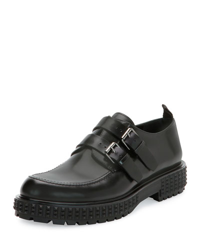 Punky-Chic Double-Monk Shoe, Black