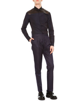 Dress Shirt w/ Leather Yoke, Navy