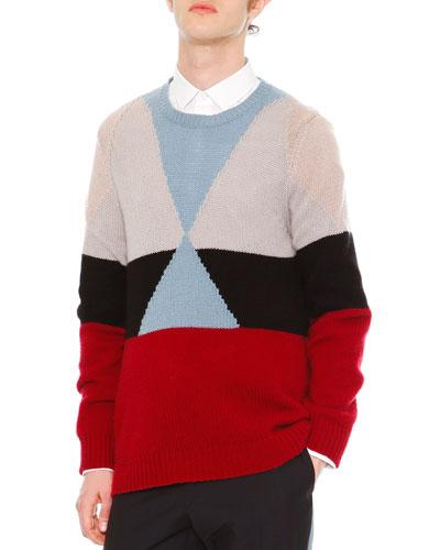 Geo Colorblock Cashmere Crewneck Sweater, Beige