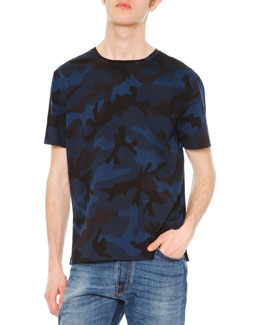 Camo-Print Short-Sleeve Knit Tee, Navy