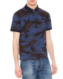Camo-Print Short-Sleeve Polo Shirt, Navy