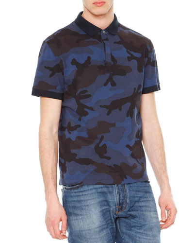 Camo-Print Short-Sleeve Polo Shirt, Navy