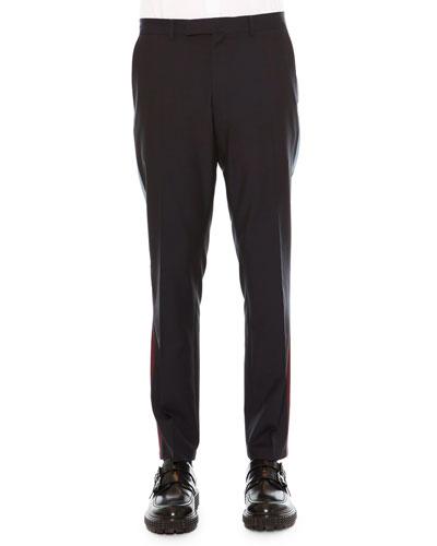 Slim-Leg Trousers w/Contrast Stripe, Navy