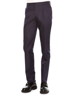 Slim-Fit Wool/Silk Trousers, Navy
