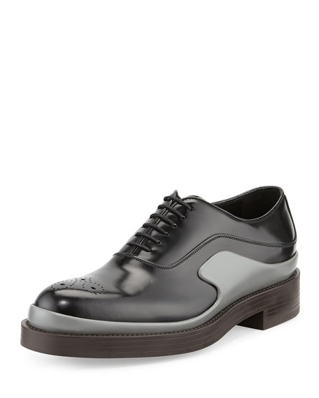 Runway Two-Tone Leather Derby Shoe, Black/Gray