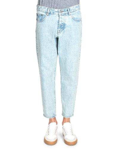Acid-Wash Tapered-Leg Denim Jeans, Light Blue