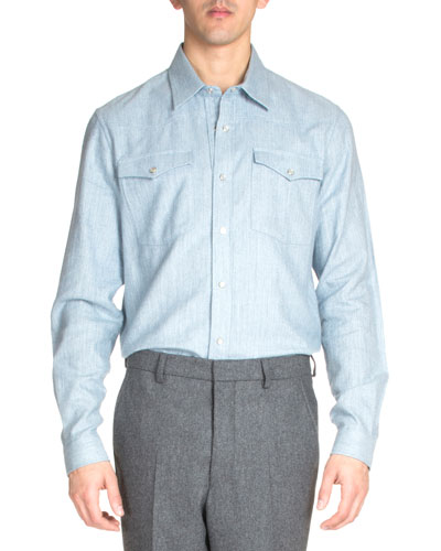 Western Flannel Shirt, Light Blue