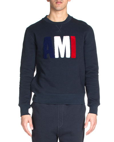 Logo-Lettering Embroidered Sweatshirt, Blue/White/Red/Navy