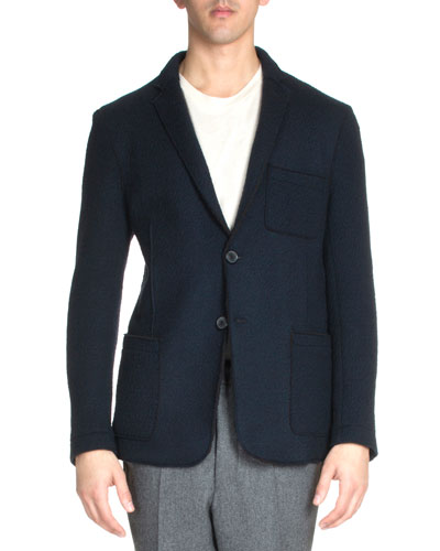 Long-Sleeve Wool Blazer, Black