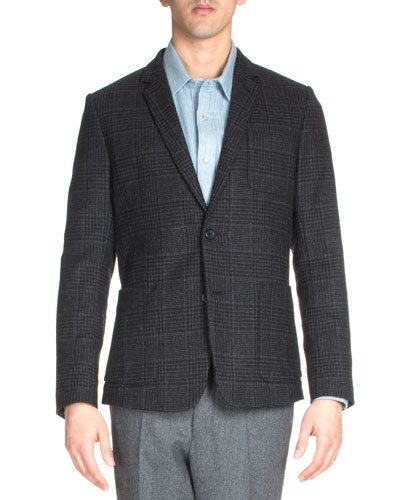 Check Two-Button Wool Blazer, Black