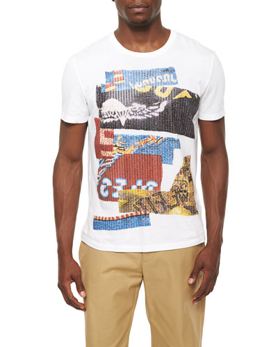 Multi-Print Graphic Crewneck Tee, White