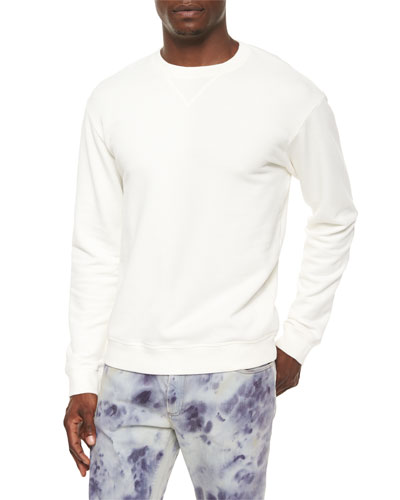 Crewneck Sweatshirt with Leather Detail, Cream