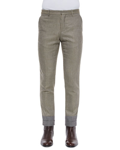 Houndstooth Slim-Fit Cropped Trousers, Khaki