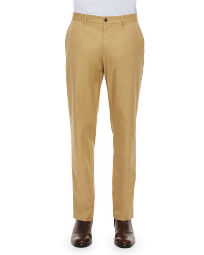 Twill Straight-Leg Chino Pants, Beige