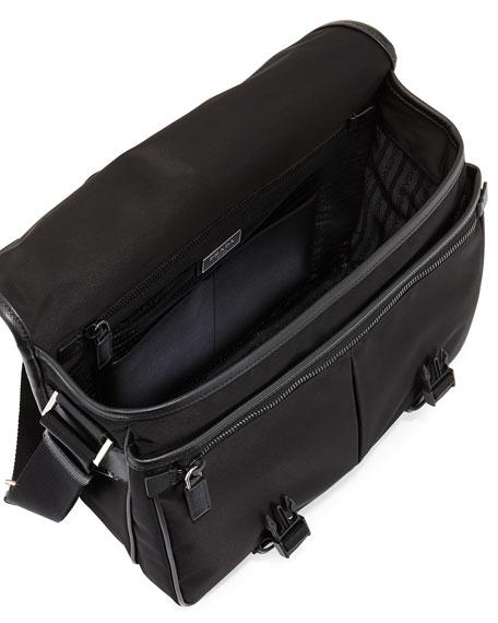 Men's Large Nylon Messenger Bag, Black
