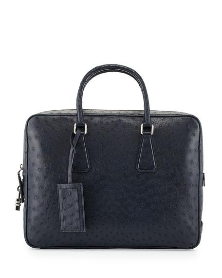 4f179bf6b6aa3b Prada Ostrich Leather Briefcase, Blue