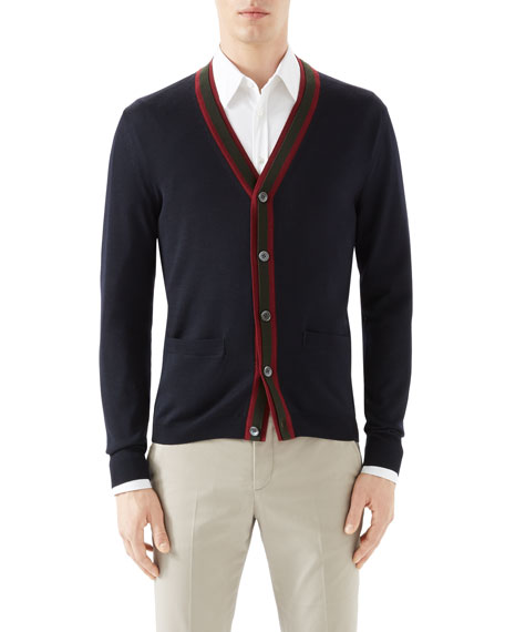 Navy Cardigan w/ Double Layer Green/Red/Green Web Detail