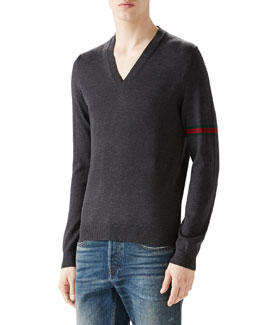 Gray V-Neck Sweater w/ Green/Red/Green Arm Band