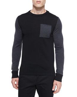 Colorblock Crewneck Wool Sweater, Black