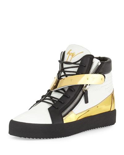 Men's Tricolor Leather High-Top Sneaker, White/Black