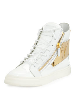 Men's Patent Logo-Plate High-Top Sneaker, White
