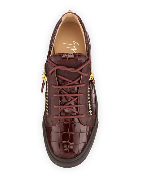 Men's Croc-Embossed Low-Top Sneaker, Burgundy