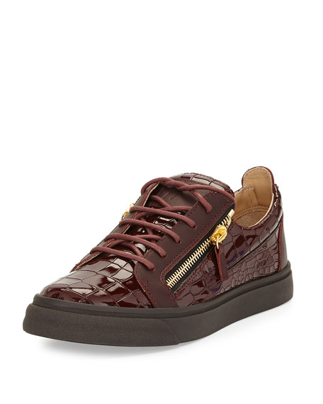 Men's Croc-Embossed Low-Top Sneaker, Burgundy