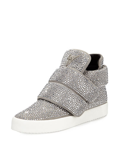 Men's Crystal-Studded High-Top Sneaker, Gray