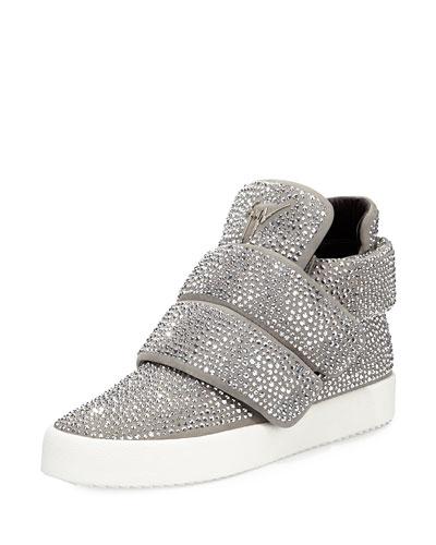 Men's Crystal-Studded High-Top Sneaker, Gray