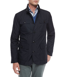 Four-Pocket Quilted Safari Jacket, Navy