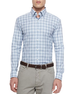 Plaid Long-Sleeve Sport Shirt, Blue