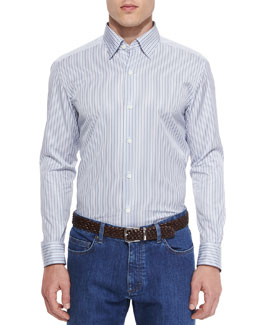 Striped Woven Sport Shirt, Gray