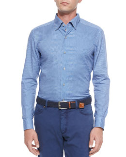 Penguin-Print Sport Shirt, Blue
