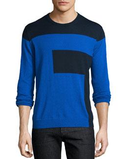 Colorblock Crewneck Sweater, Blue