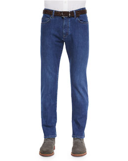 Slim Fit Stretch-Denim Jeans, Blue