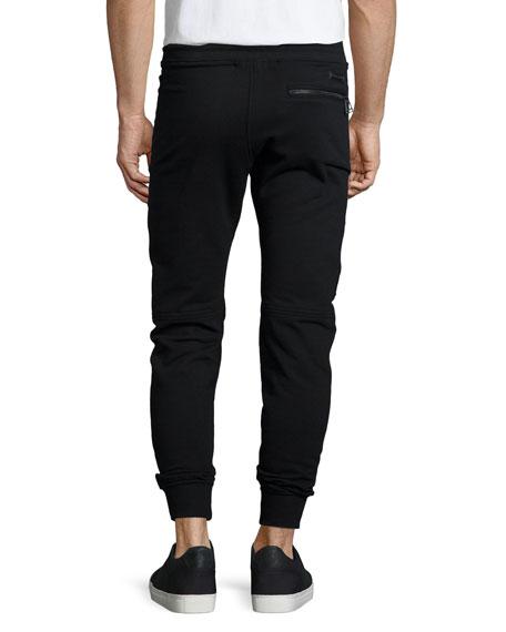 Ashdown Tapered Moto Sweatpants, Black