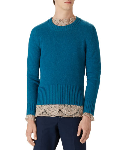 Wool Crewneck Sweater, Blue